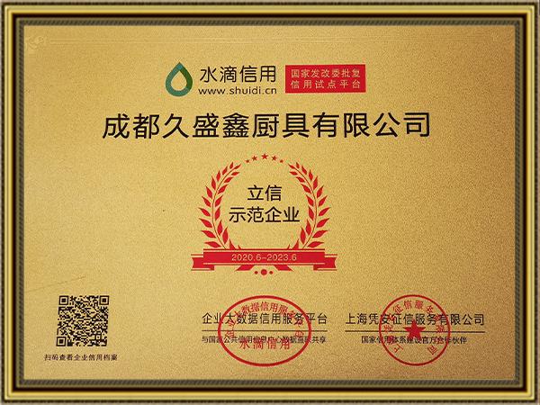 久盛鑫立信示范企业证书